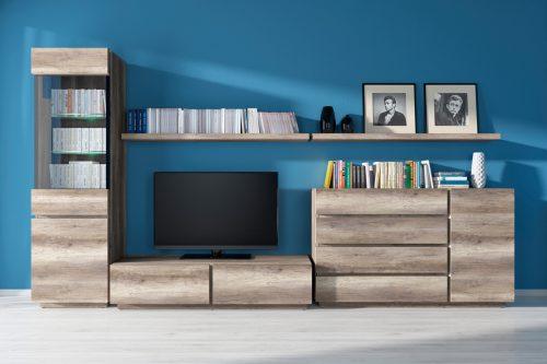 Obývací pokoj s  výraznou kresbou dřeva, zdroj: nabytokakuchyne.sk